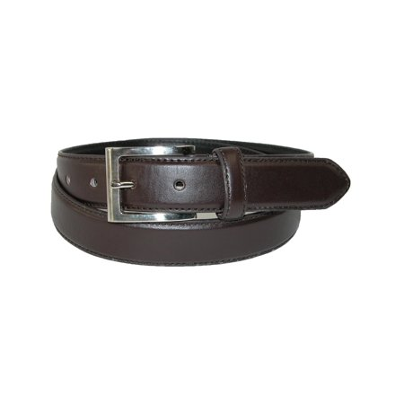 Men's Leather 1 1/8 Inch Basic Dress Belt with Silver (2 Mens Dress Belts)
