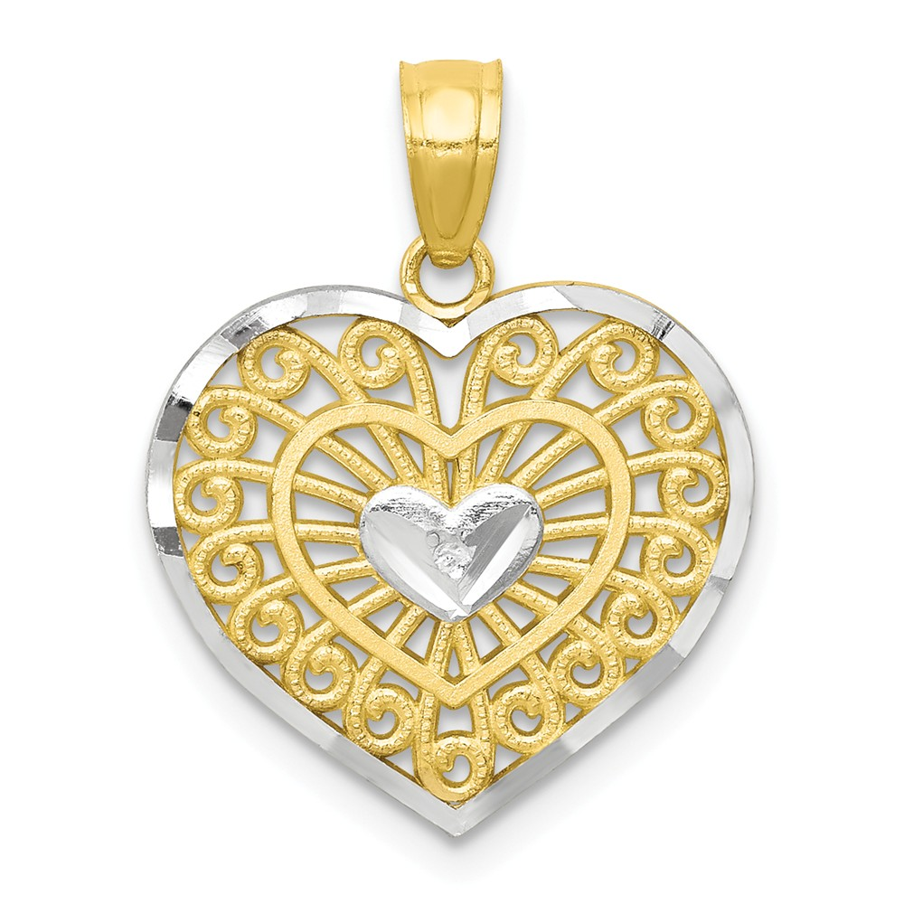 10K Yellow Gold & Rhodium Heart Pendant