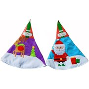 "Set of 2 Christmas Tree Skirts 31"" Felt Embroidered Designs - Holiday Decor (Santa - Rudolph)"