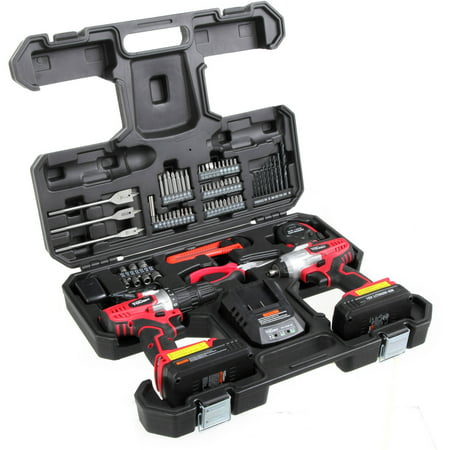 Drill Driver Accessory Set - Hyper Tough AQ90015G 72-Piece Project Kit with 18-Volt Lithium Ion Cordless Drill and Impact Driver