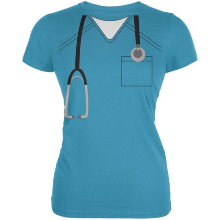 Halloween Doctor Scrubs Costume Aqua Juniors Soft T-Shirt (Aqua Halloween Mp3)