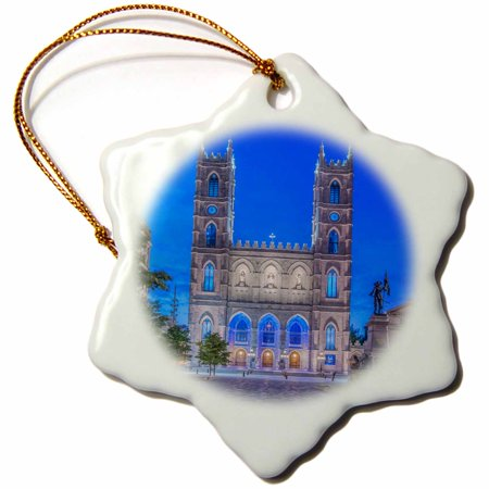 3dRose Canada - Notre Dame Basilica. , Snowflake Ornament, Porcelain, 3-inch - Halloween Tree Notre Dame