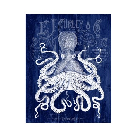 Octopus Prohibition Octopus On Blue Print Wall Art By Fab Funky