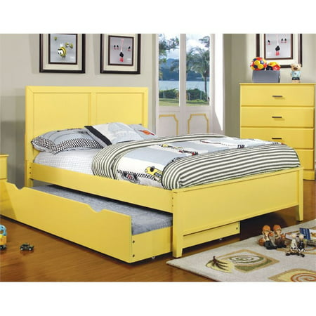 Furniture of America Geller Full Panel Bed in Lemon Yellow