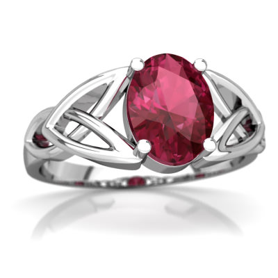Pink Tourmaline Celtic Trinity Knot Ring in 14K White Gold by