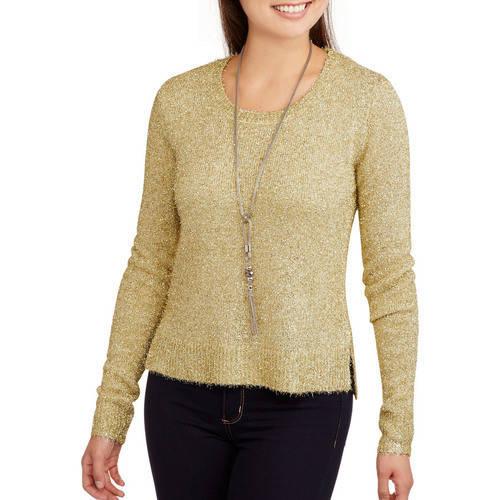 No Boundaries Juniors' Feather Metallic Yarn Pullover Sweater