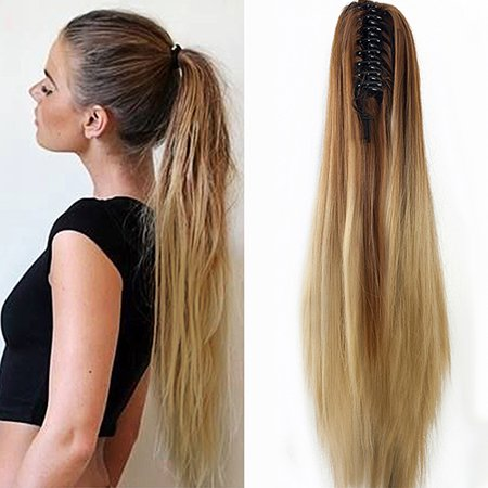 Girl12Queen Women Fashion Claw Clip Long Straight Ponytail Hair Extensions Wig - Ponytail Wig