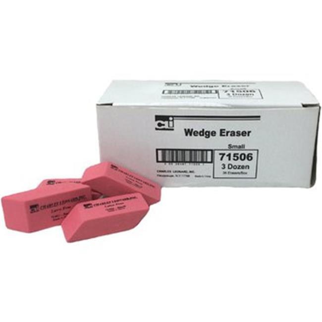 Charles Leonard 2317563 Pencil Eraser Small Wedge Shape, Latex Free - 36 Per Box, Case of 12
