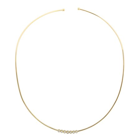 14k Yellow Gold Diamond Lucky Seven Choker Necklace