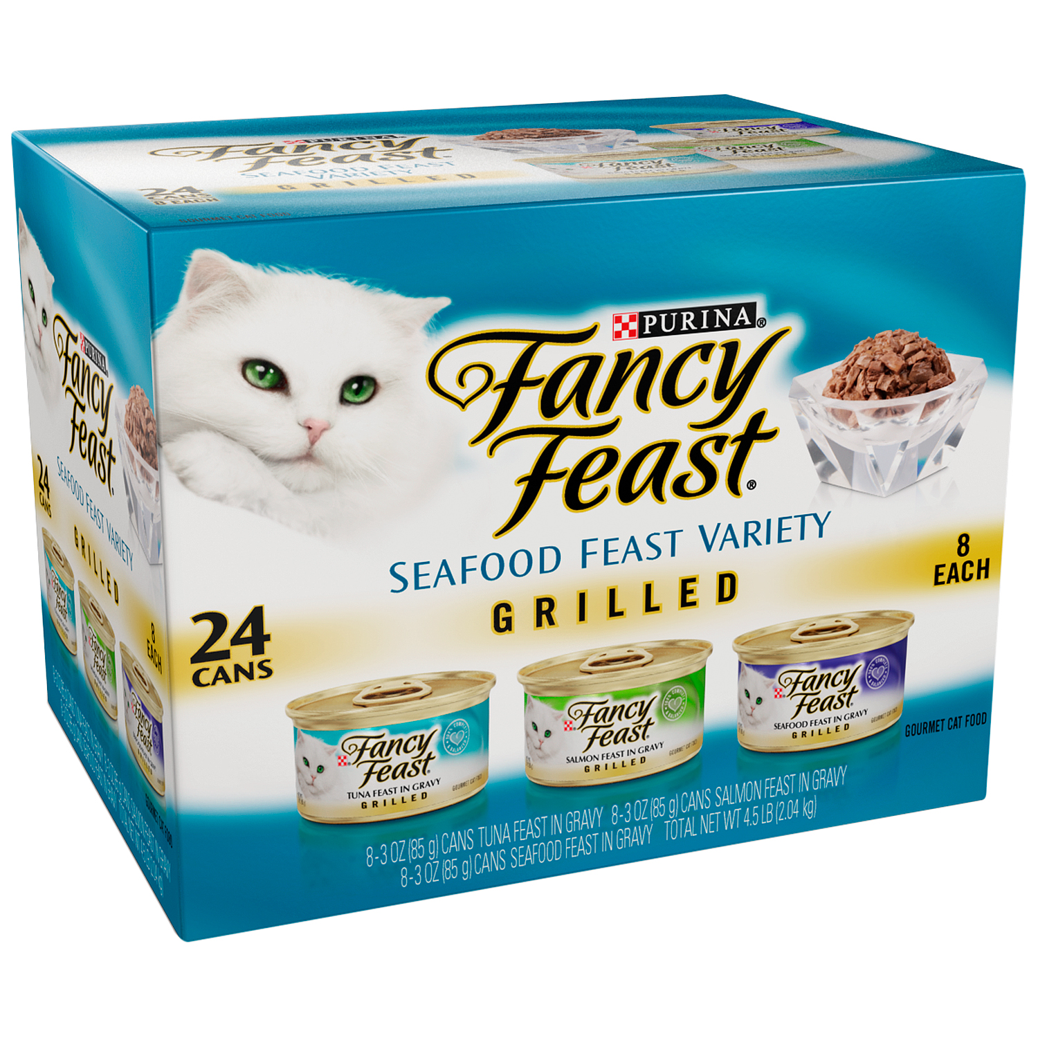 Purina Fancy Feast Grilled Seafood Feast Variety Cat Food 24-3 oz. Cans