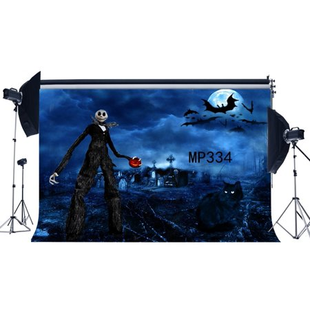 HelloDecor Polyster 7x5ft Photography Backdrop Halloween Horror Night Mysterious Moon Bats Black Cat Scene Newborn Baby Toddler Adults Masquerade Portraits Background Photo Studio Prop