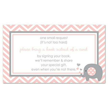 48 Pink Elephant Bring a Book Baby Shower Card - image 1 of 1