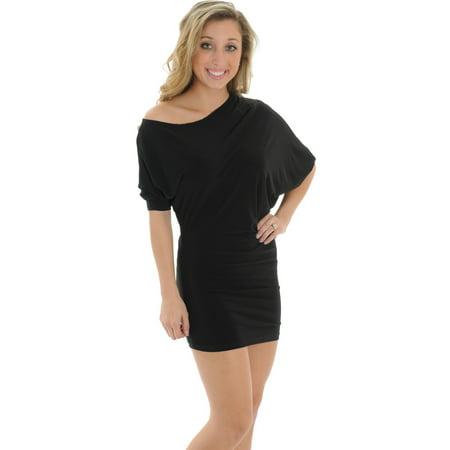 - Unique Black Convertible Dress Tunic Mini Dress Womens