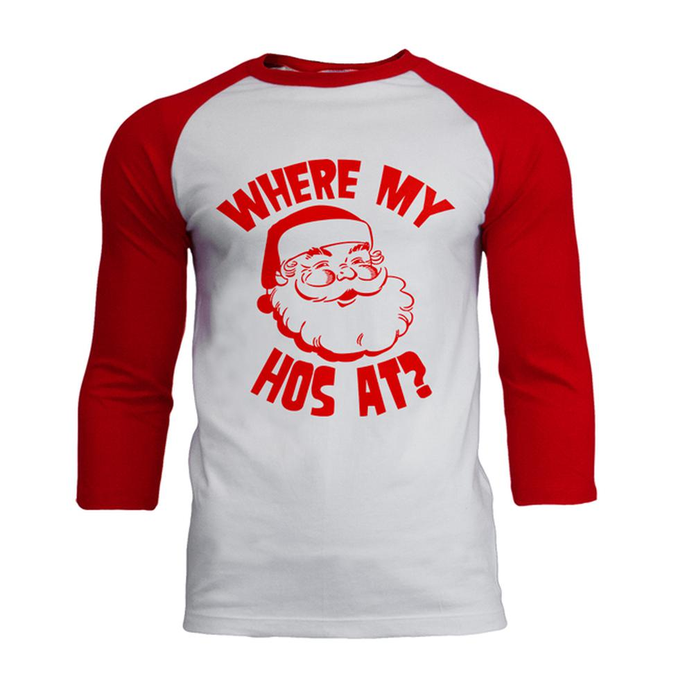 Christmas Where My Hos At? Mens Soft Raglan T Shirt