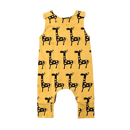 Baby Boy Girl Animal Printed Giraffe Sleeveless Romper One-Piece Bodysuit Jumpsuit Outfits