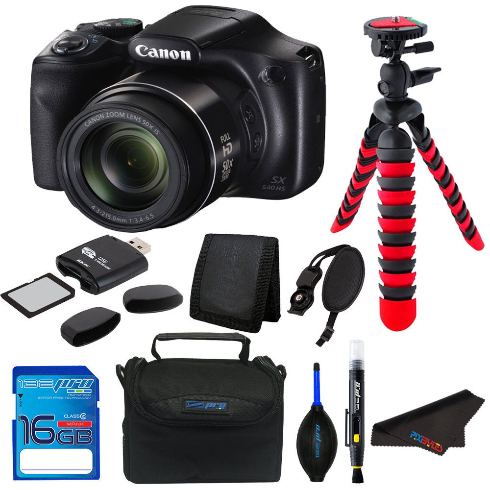 Canon PowerShot SX540 HS Digital Camera (Black) + Pixi Basic Bundle Kit