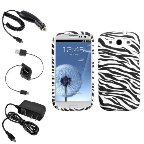 Insten Zebra TPU Skin Case+Car+Home Charger+Cable For Samsung Galaxy S3 I9300