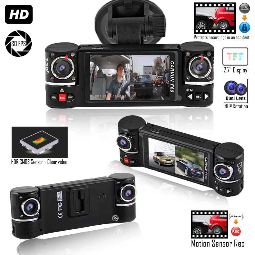 """Indigi F600 Dash Cam DVR [ 2.7"""" Split LCD + Dual Wide Angle Lens (Front +"