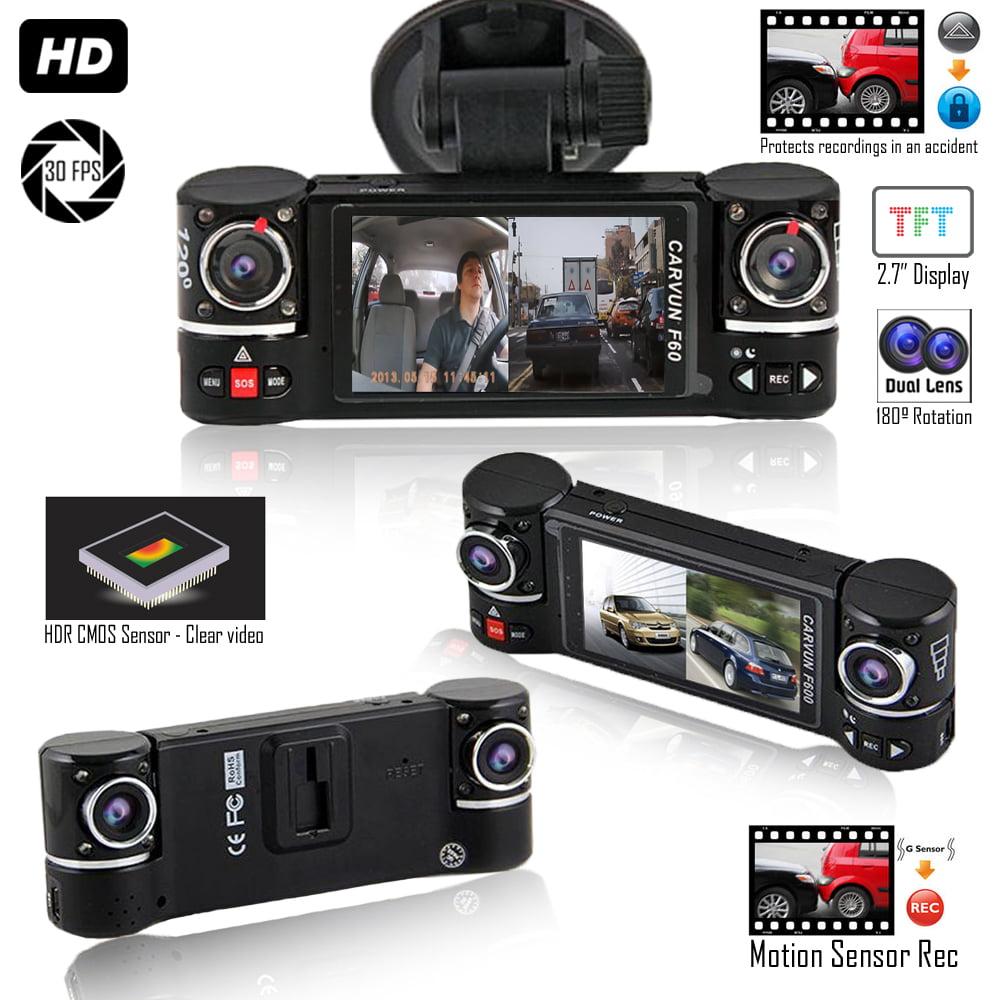 "Indigi F600 Dash Cam DVR [ 2.7"" Split LCD + Dual Wide Angle Lens (Front + In-Car) + Motion Activation ]"