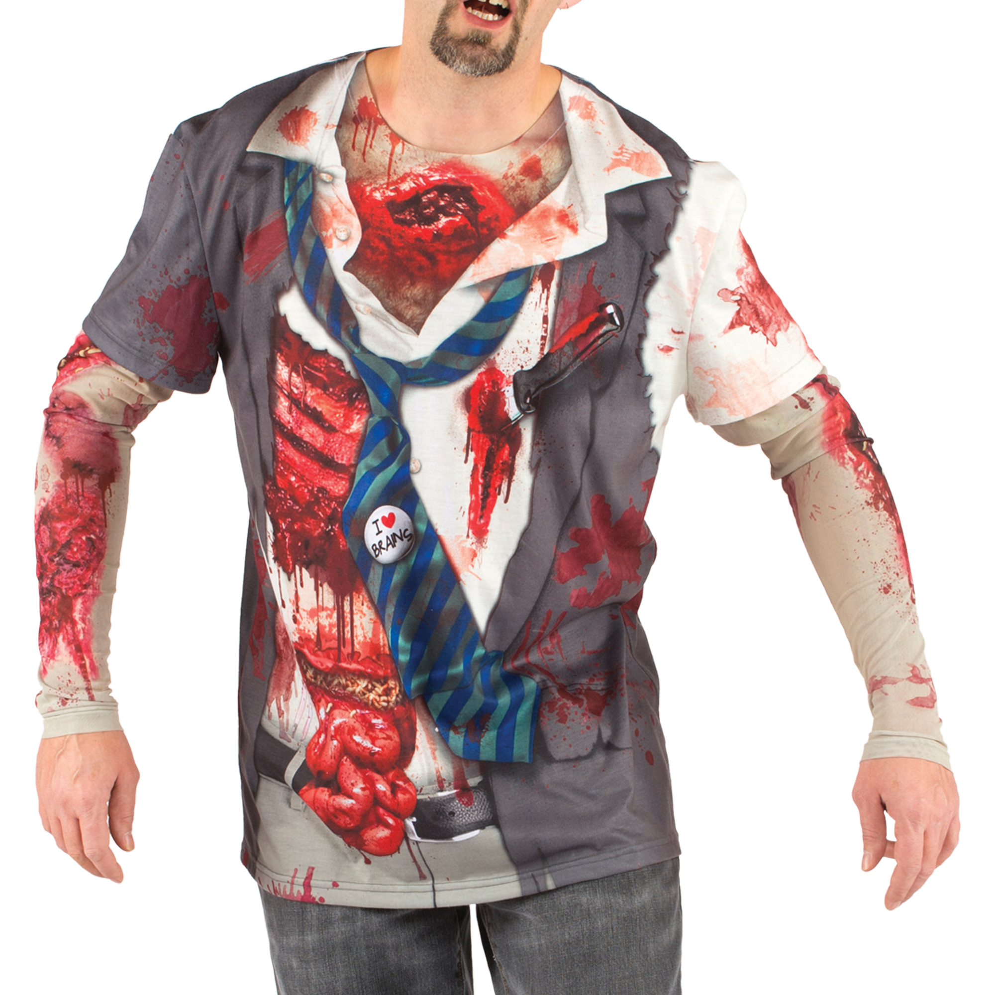 Men's Zombie Tee Shirt with Mesh Long Sleeves