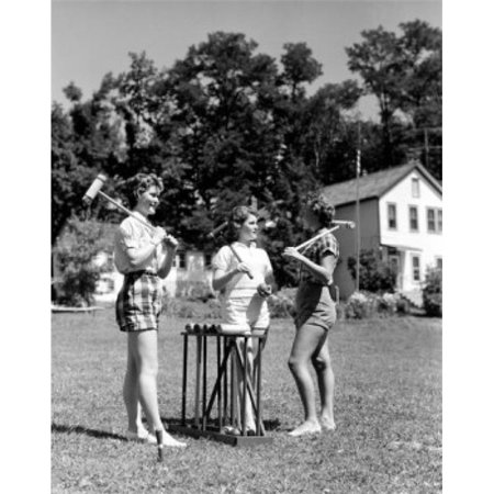 Posterazzi SAL255422127 Teenage Girls with Croquet Mallets Poster Print - 18 x 24 in. - image 1 of 1