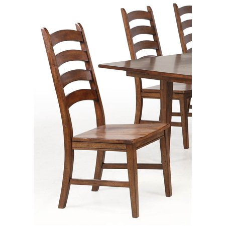 Ladderback Side Chair in Rustic Amber Finish - Set of 2