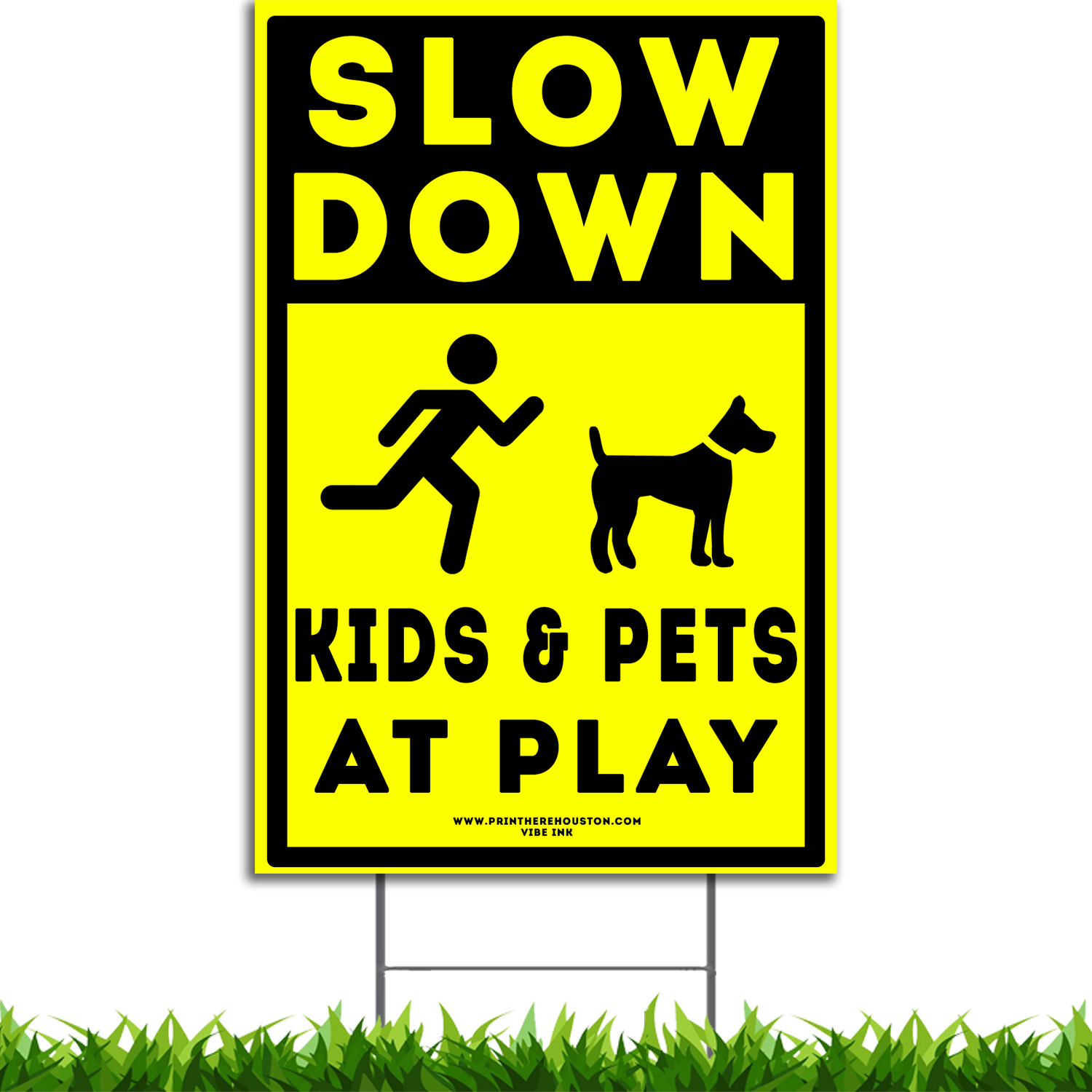 """Vibe Ink 12/"""" x 18/"""" Slow Children at Play Caution Yard Sign Kit w//Metal Stake"""