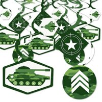 Camo Hero - Army Military Camouflage Party Hanging Decor - Party Decoration Swirls - Set of 40
