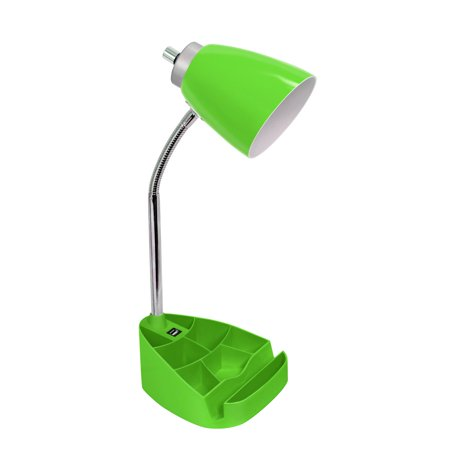Limelights Gooseneck Organizer Desk Lamp with iPad Tablet Stand Book Holder and USB port, Green