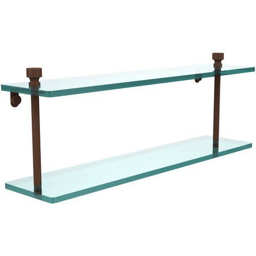 """Foxtrot Collection 22"""" 2-Tiered Glass Shelf (Build to Order)"""