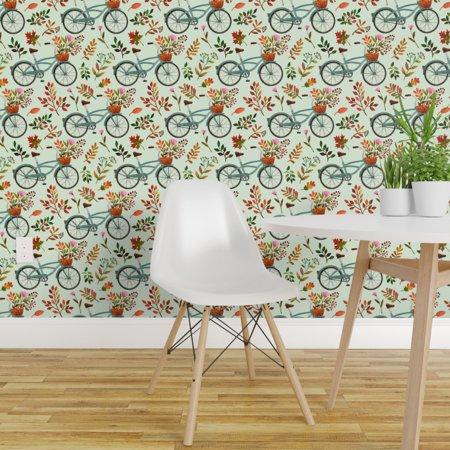 Wallpaper Roll Bike Mint Orange Brown Fall Watercolor Autumn Leaves 24