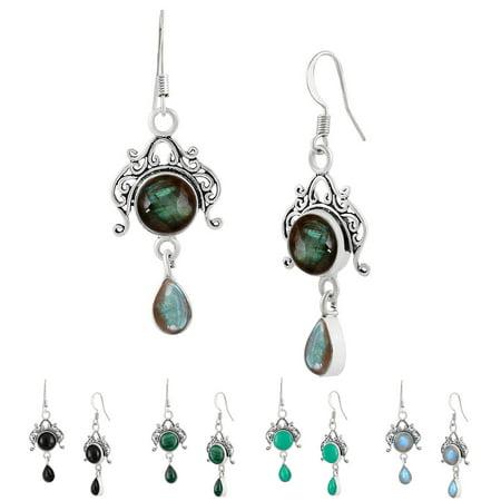 Round Shape Onyx, Labradorite, Malachite, Moonstore or Turquoise Gemstone Dangle Earrings 925 Silver Plated Handmade Fashion (Children's Birthstone Jewelry)