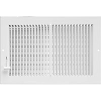 Imperial RG0299 Multi-Shutter Register, 12 in W x 6 in H Duct Opening, Steel, White 12' Stainless Steel Duct Cover