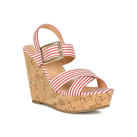 Women Striped Open Toe Cork Platform Wedge Sandal 18848