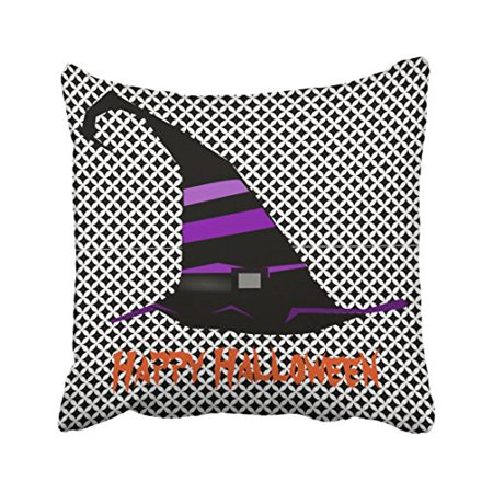 WinHome Fun Happy Halloween Witch Hat Throw Pillow Covers Cushion Cover Case 18x18 Inches Pillowcases Two Side](Outdoor Halloween Pillows)