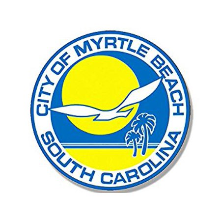 ROUND City of Myrtle Beach Seal Sticker Decal (south carolina sc resort) 4 x 4 inch