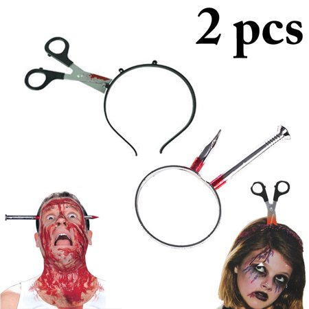 2PCS Halloweeen Headband Scissors Nail Through Head Hair Hoop Party Hairband for Halloween Party Costume Accessories Supplies - Halloween Costumes Party Supplies