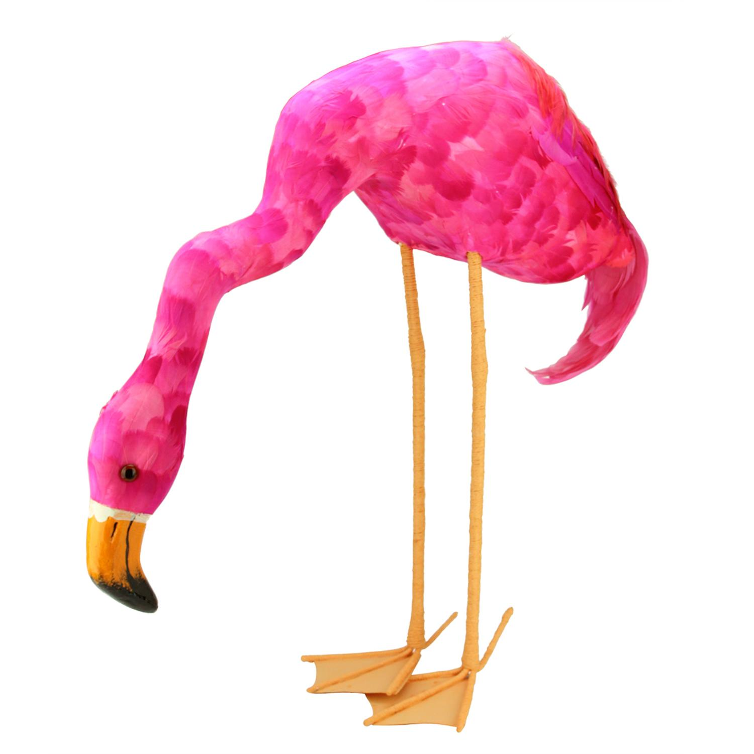 "27.5"" Standing Hot Pink Feathered Flamingo with Head Down Decoration"