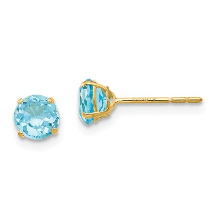 14k Yellow Gold Round Blue Topaz 5mm Post Earrings (Blue Topaz Flower Post Earrings)