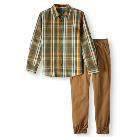 Beverly Hills Polo Club Beverly Hills Polo Club Long Sleeve Plaid Shirt with Twill Jogger, 2-piece Outfit Set (Little Boys & Big Boys)