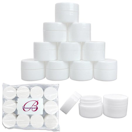 Beauticom 12 Pieces High Quality 7 Gram 7 ml (0.25 oz) Plastic White Round Lotion, Cream, and Skin Care Sample Travel Jars with Lined Lids - Ice Cream Container