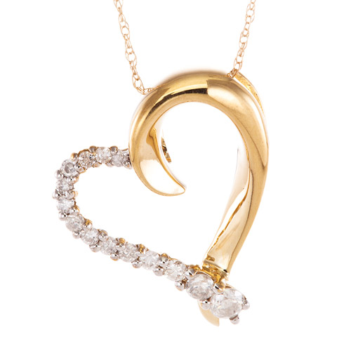 """1 4 Carat T.W. Diamond 10kt Yellow Gold Journey Heart Pendant, 18"""" by RBI Division of Samuel Aaron"""