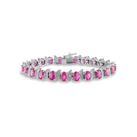 - Created Pink Sapphire Sterling Silver Bracelet with Diamond Accents, 7