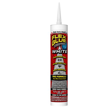 Flex Glue Strong Rubberized Waterproof Adhesive Pro Formula, 10 oz, White