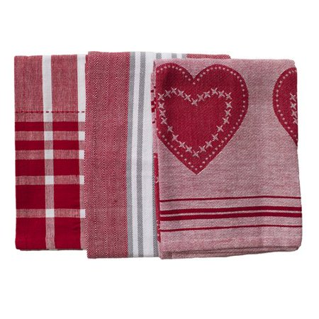Rue Montmartre Love In Stripes Els Cotton 3 Piece Kitchen Towel Set