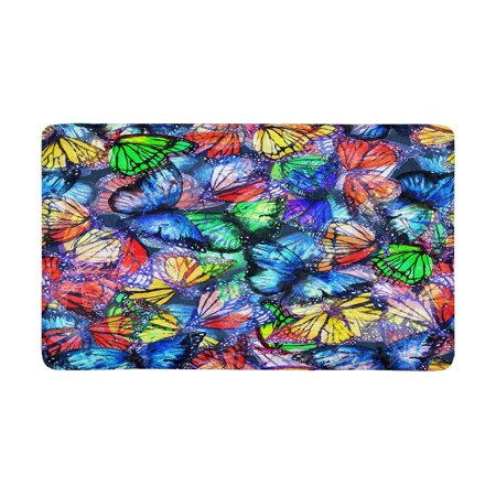POP Butterfly of Colorful Butterflies Flying Doormat Non Slip Indoor/Outdoor Doormat Floor Mat Home Decor Entrance Rug 30x18 inches - image 1 of 3