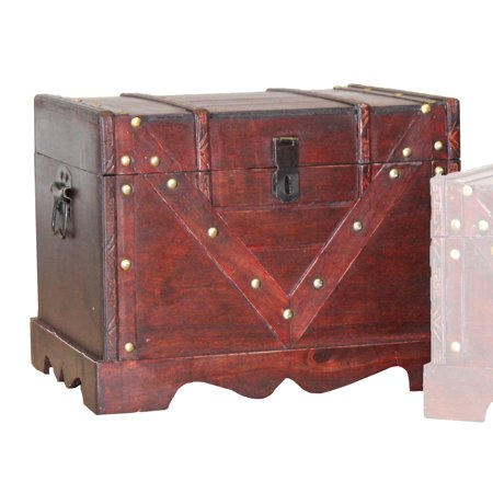 Large Wooden Treasure Box, Old Style Decorative Treasure Chest with Lockable Latch (Treasure Chest Gift Box)