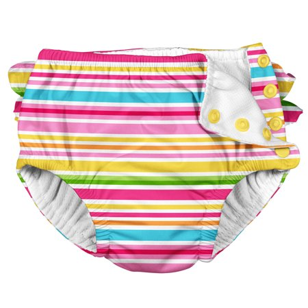 Iplay Baby Girls Ruffle Swimsuit Pool Approved Absorbent Cloth Reusable Swim Diaper Bathing Suit Pink Striped 18 Months