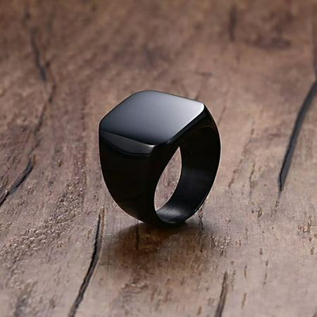 Titanium Steel Ring, Man Solid Polished Square Big Width Signet Ring, Black Men Rings Jewelry