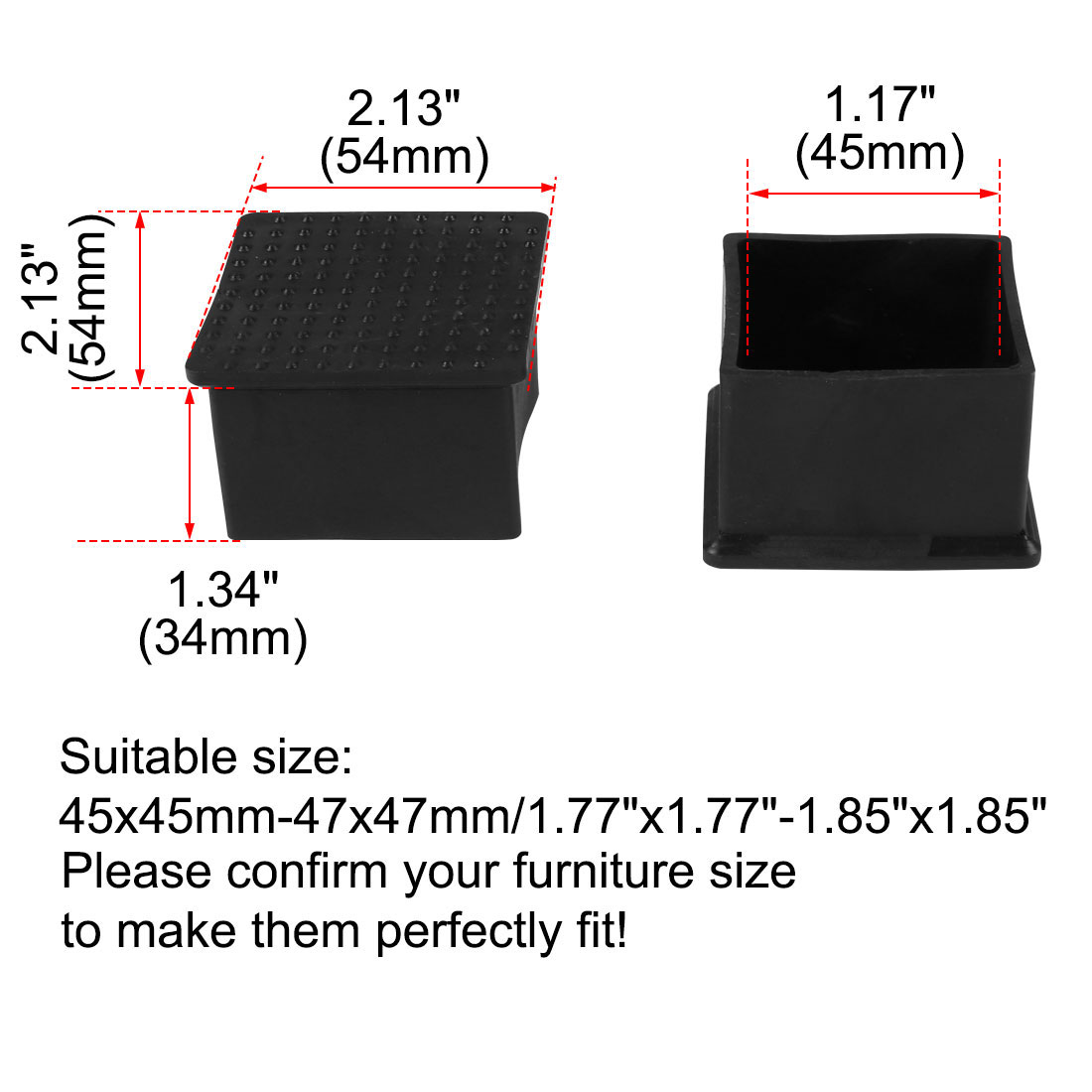 """Desk Table Leg Caps End Tip Home Furniture Protector 25pcs 1.77""""x1.77"""" (45x45mm) - image 1 of 7"""
